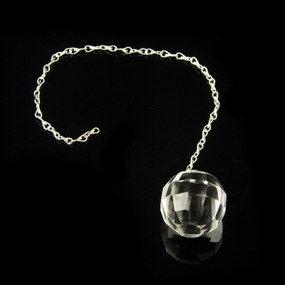 Quartz crystal faceted sphere pendulum