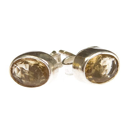 Citrine crystal stud earrings - oval