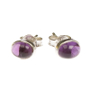 Amethyst stud earrings - oval (J8)