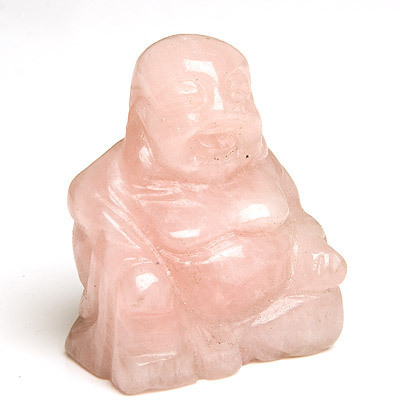 Rose quartz crystal Buddha 01