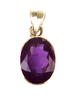 Amethyst pendant - amethyst faceted oval pendant (J7)