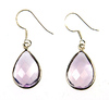 Amethyst earrings - large amethyst teardrop faceted earrings (J12)