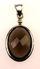Smokey quartz oval faceted pendant (J27)