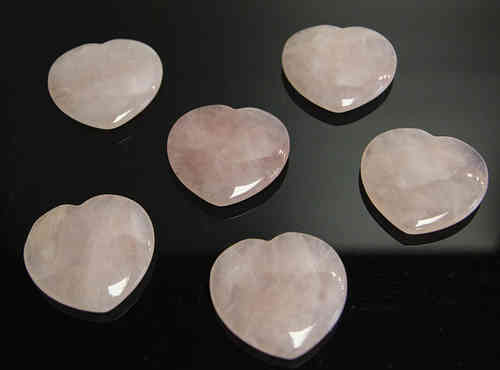 Rose quartz crystal heart - rose quartz flat heart