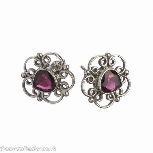 Garnet Crystal Earrings - Fancy Studs Heart