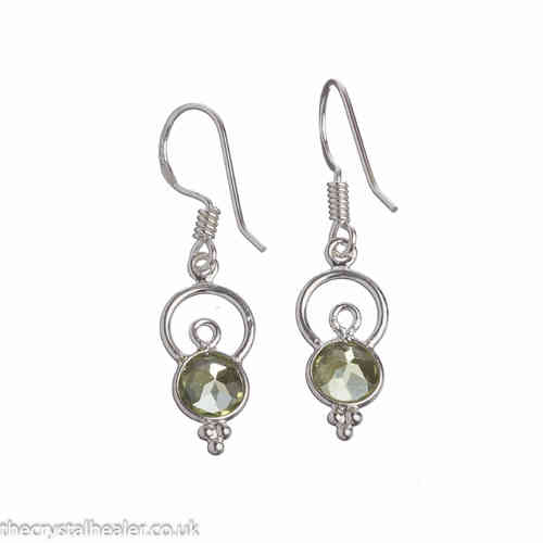 Peridot Crystal and Silver Earrings