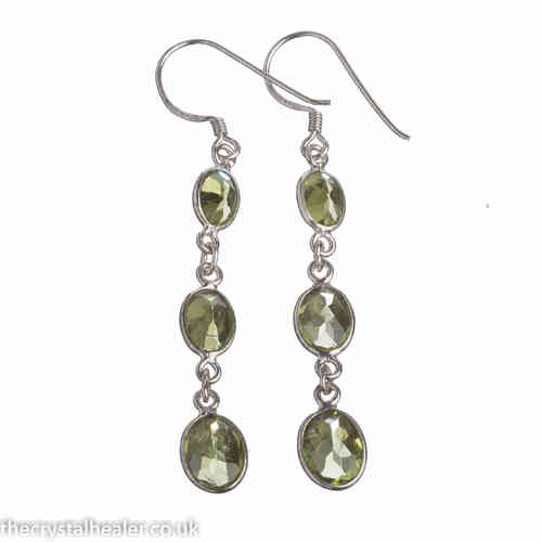 Peridot Crystal 3 Stone Earrings